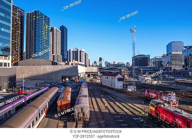 Melbourne skyline rail yard near Spencer Street station