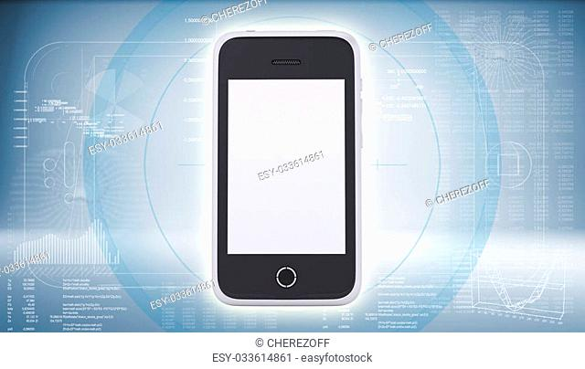 Smartphone on high-tech blue background. The concept of future technology