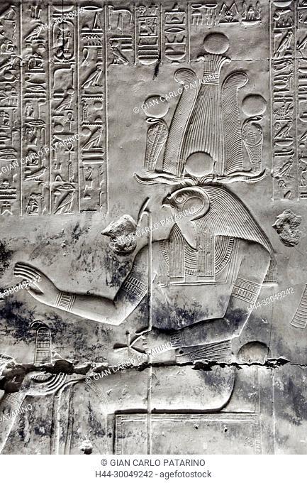 Abydos,Egypt, the mortuary temple of pharaoh Seti I, Menmaatra, (XIX° dyn. 1321-1186 B.C.) - The god Horus