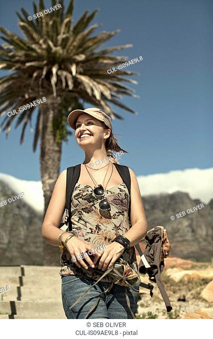 Young woman near Table Mountain, Cape Town, South Africa