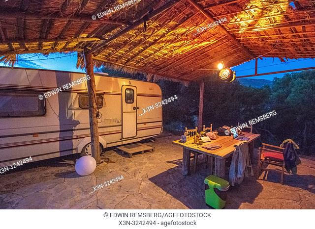 Warm Glowing Campsite at Dusk, Tarifa, Cádiz, Andalusia, Spain