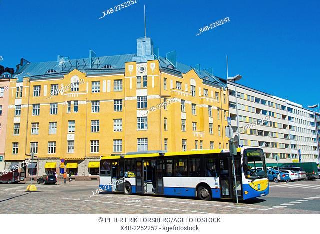 Bus, Hakaniemen tori, Hakaniemi market hall, Kallio district, Helsinki, Finland, Europe