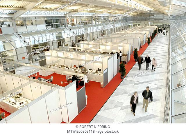 Row of exhibition stalls in a trade fair, Bavaria, Germany