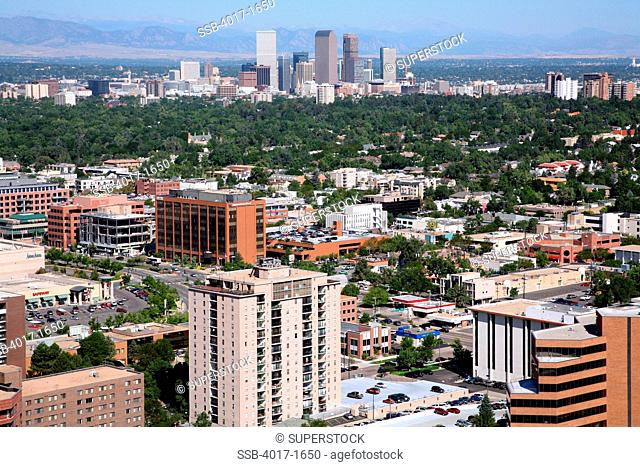 Aerial of the Cherry Creek Neighborhood of Denver with downtown in background