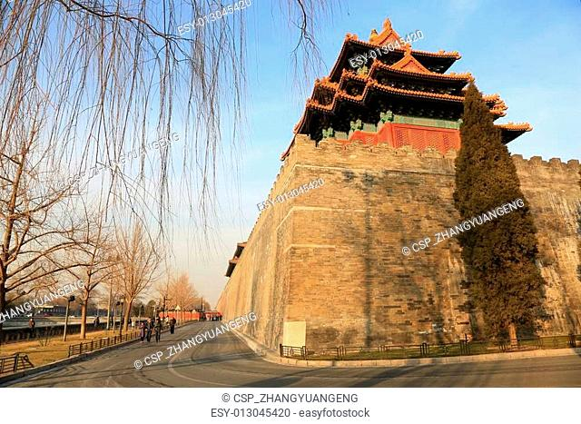 BEIJING - DECEMBER 22: The Southwest turrets of the Forbidden City, on december 22, 2013, beijing, china