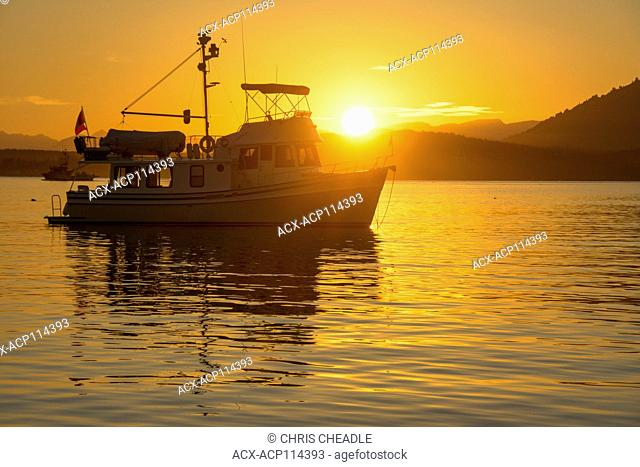 Yacht at anchor at Sidney Island, Gulf Islands National Park Reserve, British Columbia, Canada