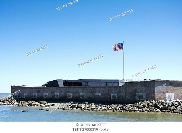 South Carolina, Charleston, Fort Sumter on sunny day