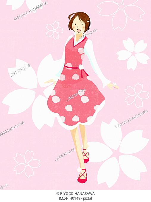 Illustration of a happy young girl on a pink floral background
