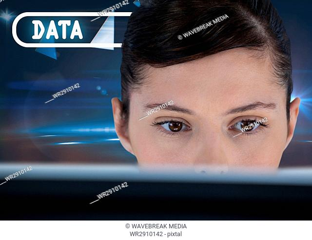Data text and woman on computer