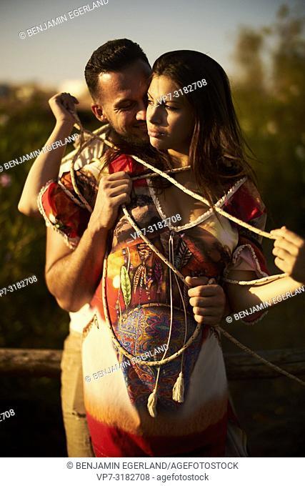 Happy Young couple outdoors. Chersonissos, Crete, Greece