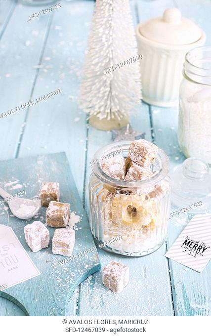 A jar of almond biscuits