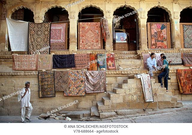 Carpets for sale, Jaisalmer. Rajasthan, India