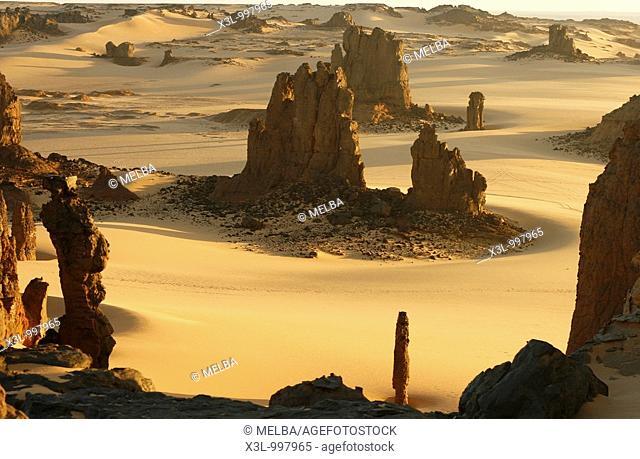 Volcanic rocks in Tahaggart  Tassili Ahaggar  Sahara desert  Algeria