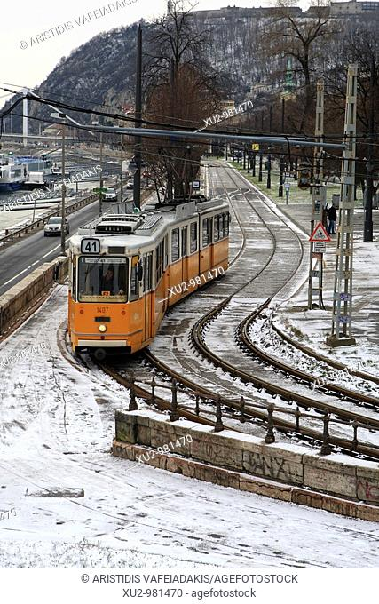 Budapest, Hungary - The yellow tram  Budapest has safe, efficient and inexpensive bublic transport