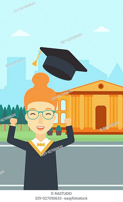 A happy woman throwing up her hat on the background of educational building vector flat design illustration. Vertical layout