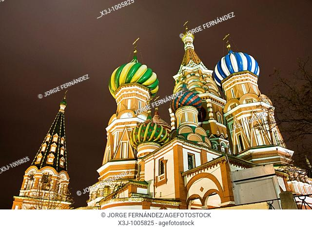 Saint Basil's Cathedral at night, Moscow, Russia
