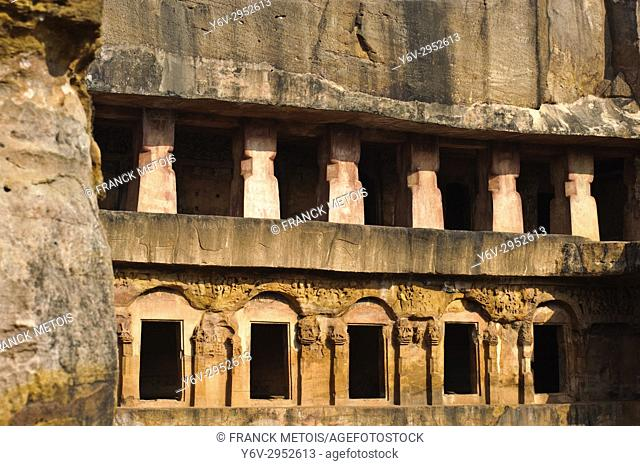 "Udayagiri caves ( near Bhubaneswar, India). These particular caves are called """"rani gumpha"""". Khandagiri and Udayagiri are two hills containing buddhist and..."