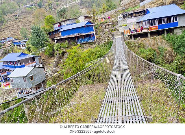 Suspension Footbridge, Rest Area, Small Village, Trek to Annapurna Base Camp, Annapurna Conservation Area, Himalaya, Nepal, Asia