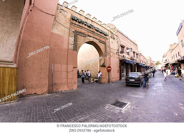 Another door of old medina at sunset. Marrakech, Marrakech-Safi. Morocco