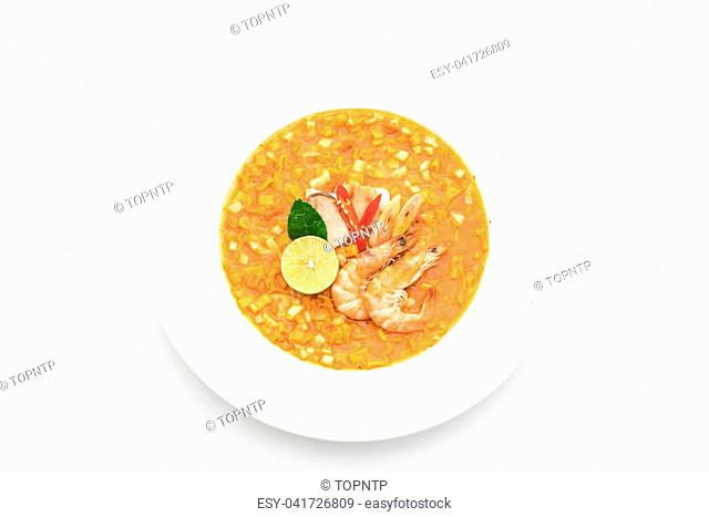 Spicy noodles soup with shrimp (tom yum) isolated on white background
