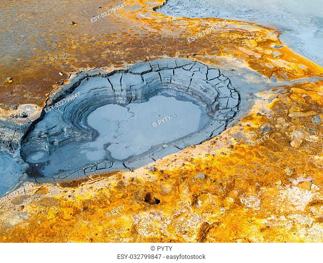 Mud pot in geothermal area, Seltun, Iceland