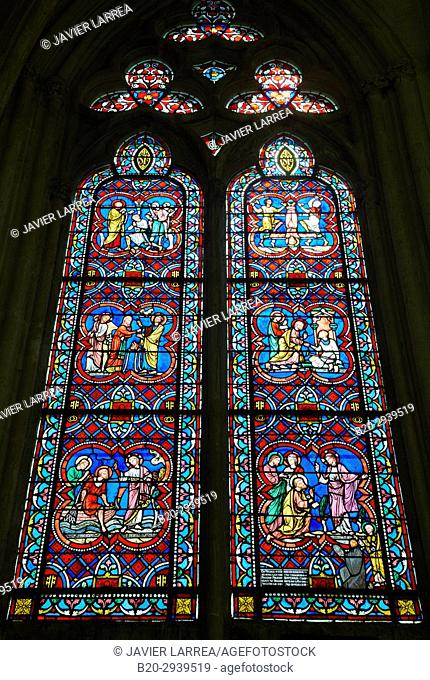 Stained glass windows, Abbaye Saint-Germain, Auxerre, Yonne, Burgundy, Bourgogne, France, Europe