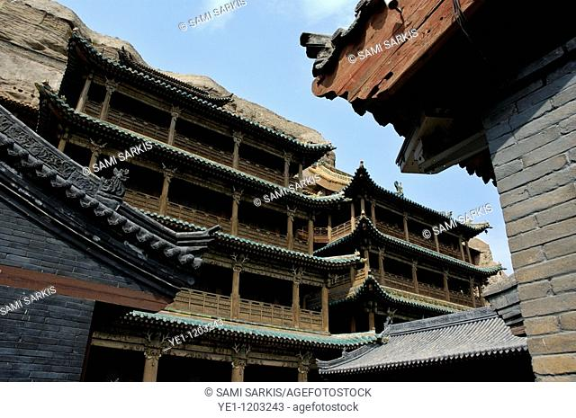 Wooden temple at the entrance to the Yungang Grottoes, in Datong, Shanxi, China