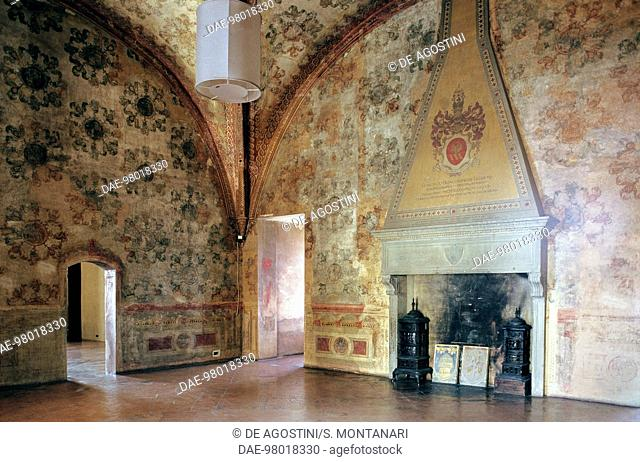 Room with fireplace, fortress of Vignola, Emilia-Romagna, Italy
