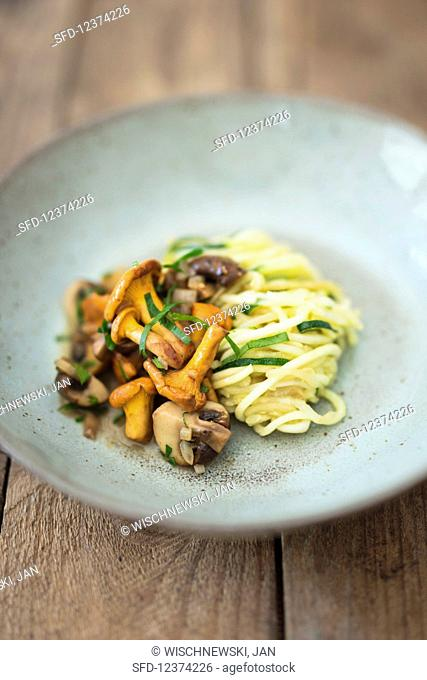 Zoodles (zucchini noodles) with mushrooms
