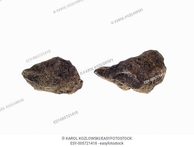 Pyrolusite, precious stone on white background, studio isolated photo