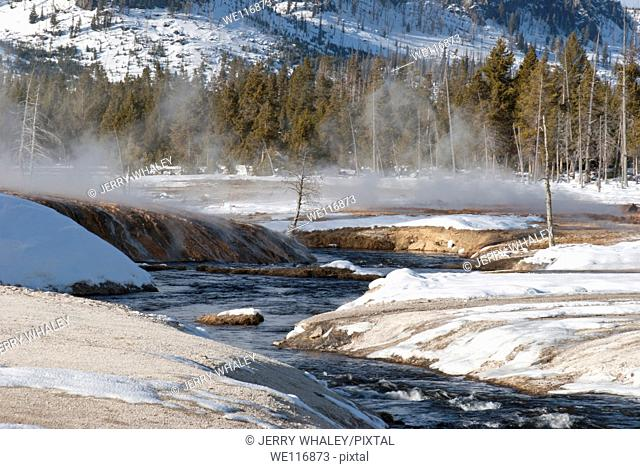Iron Spring Creek at Black Sand Basin in the Winter, Yellowstone NP, WY