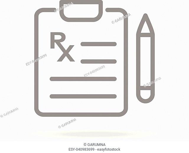 Medical Prescription Icon In Trendy Thin Line Style Isolated On White Background. Medical Symbol For Your Design, Apps, Logo, UI