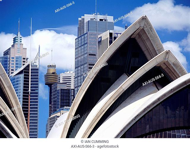 Detail of the roof of the Sydney Opera House and other buildings, Sydney