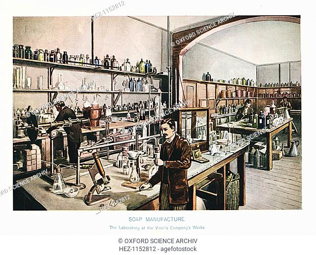 Soap manufacturing, c1905. The Vinolia Soap Company's London laboratory where raw materials and essential oils were tested
