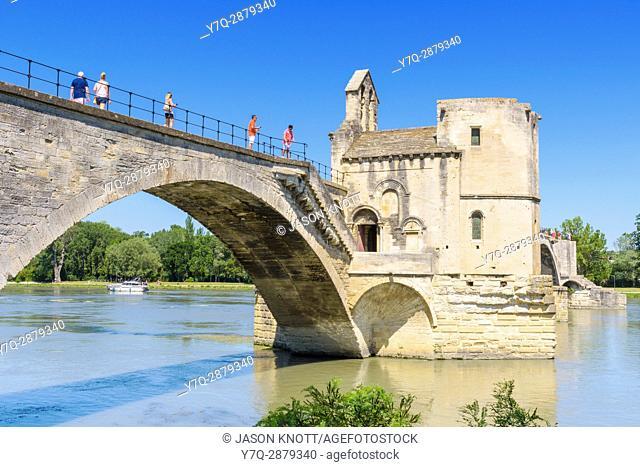 The north side of Pont Saint-Bénézet and the small Chapel of Saint Nicholas, Avignon, Vaucluse, Provence-Alpes-Cote d'Azur, France