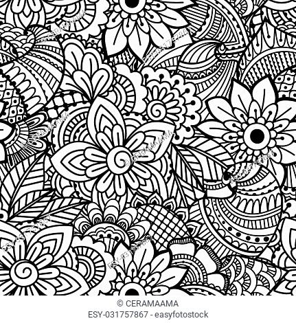 Seamless black and white pattern. Ethnic henna hand drawn background for coloring book, textile or wrapping