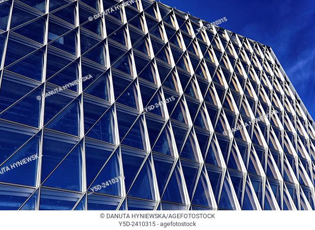 Self-shading glass facade of headquarters building of Japan International Tobacco, JIT, Geneva, Switzerland