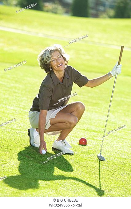 A female golfer
