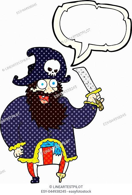 freehand drawn comic book speech bubble cartoon pirate captain
