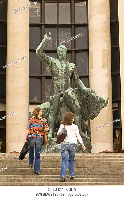two women in front of a sculpture at Palais de Chaillot, France, Paris