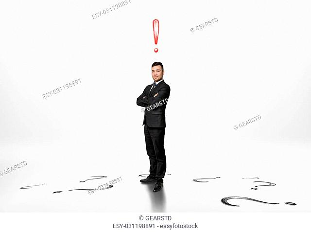 Exclamation mark question mark white background Stock Photos