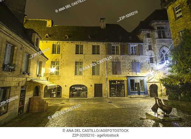 Nightscape in Sarlat la Caneda a beautiful medieval town and one of the highlights to a visit to the Dordogne Perigord France on December 6, 2018