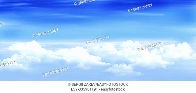 Clouds in a Blue Sky. Digital Painting, Illustration of a white stratus clouds under a blue sky