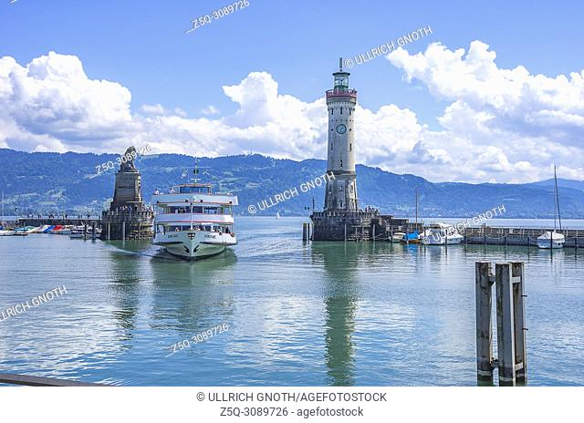 Lindau am Bodensee, Bavaria, Germany - The excursion boat KONSTANZ enters the harbor
