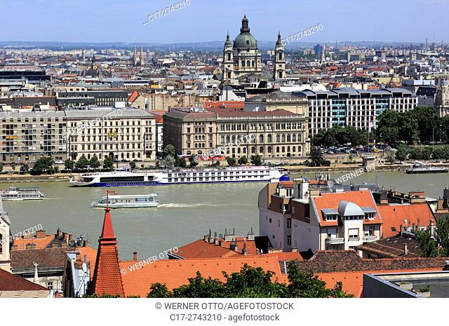 Hungary, Central Hungary, Budapest, Danube, Capital City, panoramic view from Buda across the Danube to Pest, ahead the academy of sciences, neo-renaissance