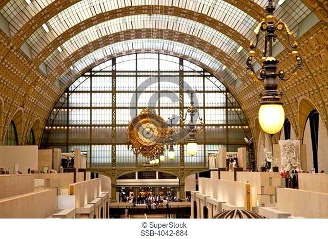 Great Hall and old railway station clock in a museum, Musee d'Orsay, Paris, France