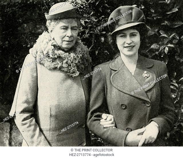 Queen Mary with Princess Elizabeth, April 1944, (1951). Creator: Unknown