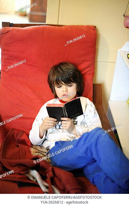 Boy reads book sitting on chair