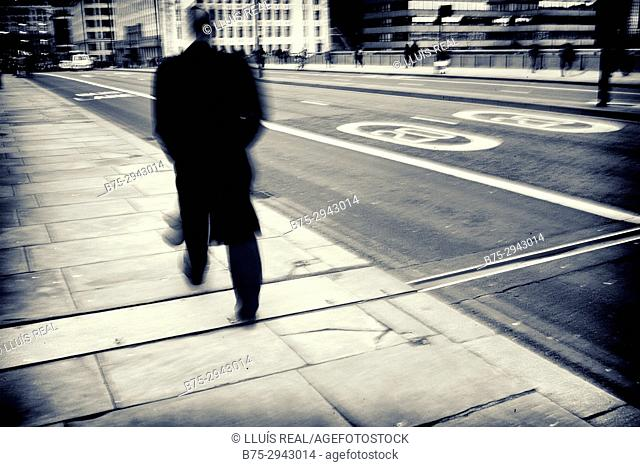Unrecognizable man walking on the street. London, England