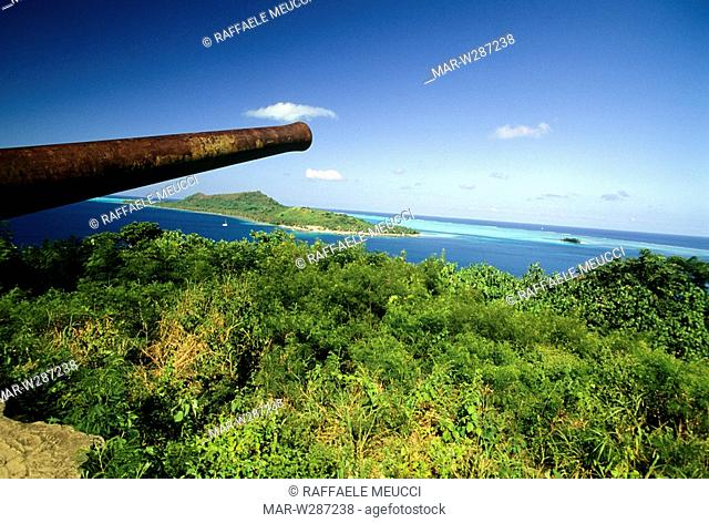 french polynesia, bora bora, guns, second world war